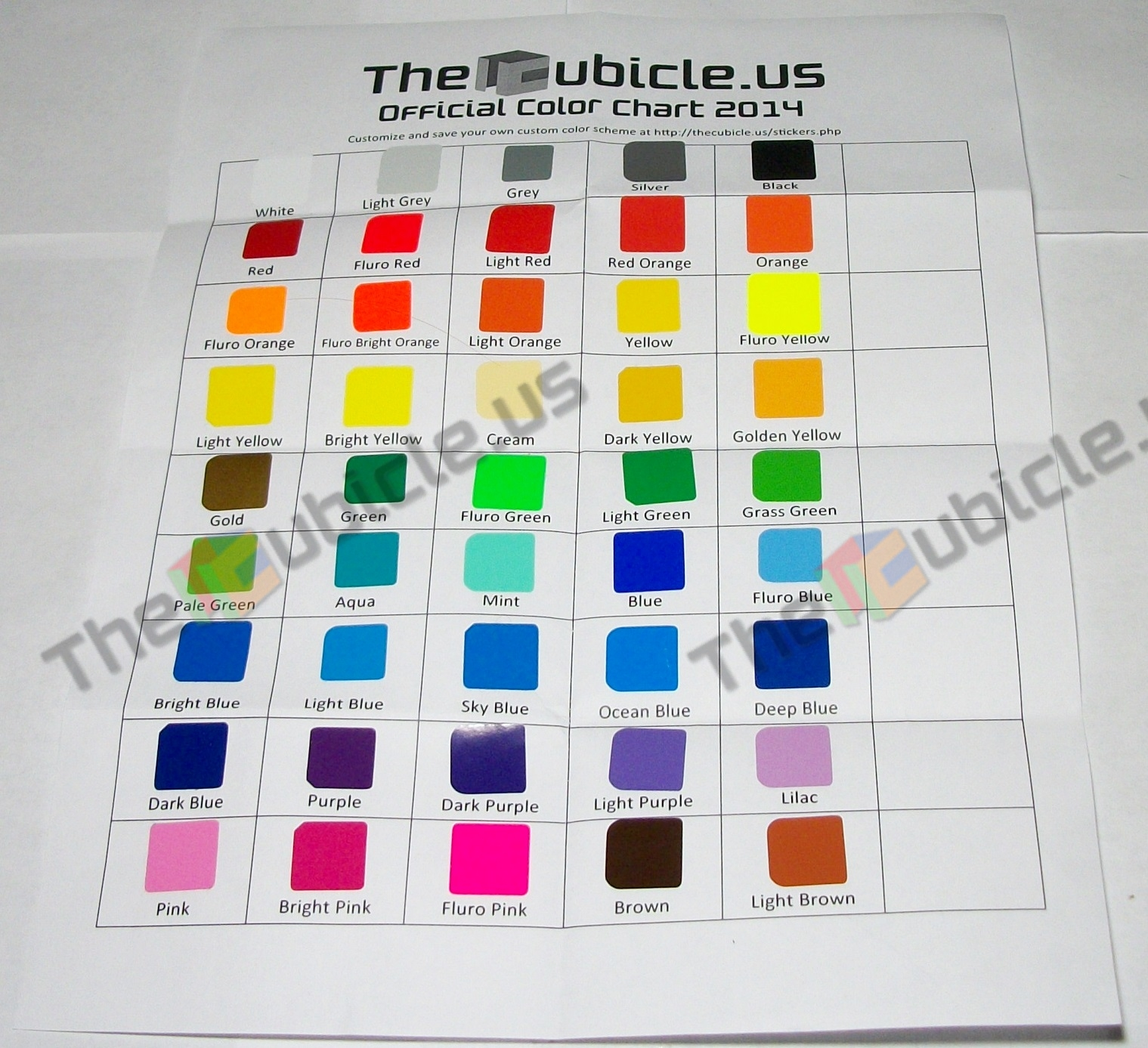 The cubicle stickers official color chart is a pamphlet with organized samples of all 45 colors offered for cubicle brand stickers